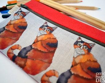 Kitty Cat Linen Zipper Pencil Pouch / Makeup Bag / Pencil Case
