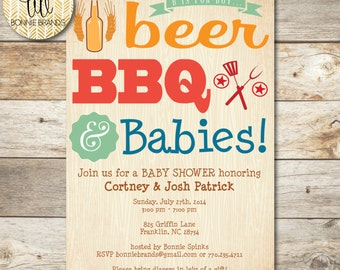 CUSTOMIZED // PRINTABLE // Baby Shower Invitation // B is for Boy, Beer, BBQ, Babies - Wood theme // coed Shower // Couples Shower