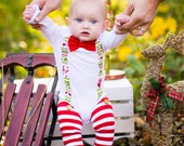 Baby Boy Bow Tie Bodysuit with Suspenders - Christmas Holiday - Photo Prop, Ugly Sweater, Red Bow Tie, Red White Green, Grinch, Holiday Prop
