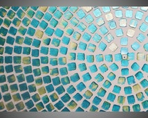 Painting Art Paintings Acrylic Painting Large Canvas Turquoise Metallic and Green Metallic Art Deco 48 x 24 painting by ilonka Made to Order
