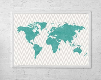 World Map Chevron Art Print Poster Aqua - Gray - Wall Hanging - Housewarming - Large World Map