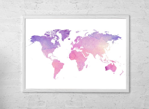 karte der welt karte aquarell art print poster wandbehang etsy. Black Bedroom Furniture Sets. Home Design Ideas