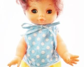 "Vintage Hong Kong 10""  Toddler Type Doll, Plastic, Dark Brown Hair, Blue & White Polka Dot Top Matching Yellow Pants Head Scarf, Collectible"