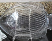 Two Large Vintage Fish Platters - Clear Glass Beach Cottage Coastal