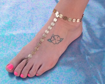 Gold Coin Chain Barefoot Sandal, Slave Anklet, foot thong, Anklet ankle bracelet with toe ring Gypsy Boho Bohemian Barefoot Wedding