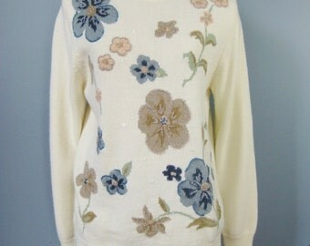 Floral Ivory Sweater / Vtg 90s /  Pullover Ivory Floral Sweater with Blue and Taupe Flowers / Embroidered Sweater / Alfred Dunner Sweater