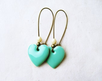 Mint Green Heart Earrings. Cute Enamel Earrings. Geometric Heart Charms on Long Antique Bronze Kidney Ear Wires. Pastel Spring Jewelry.