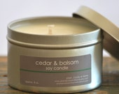 Cedar & Balsam Soy Candle Tin 8 oz. - cedar candle - balsam candle - cedar balsam candle - fall candle - holiday candle - wood scent candle