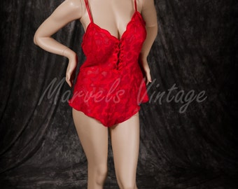 Vintage Victoria's Secret Teddy Lingerie Ruby Red Size Large and Tall