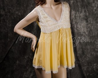 Vintage Eve Stillman New York Lingerie 60's Buttercup Yellow Babydoll and Panties Set Size Small
