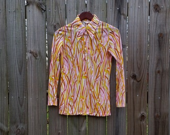 XS Extra Small Vintage 60s 70s Trippy Groovy Hippie Indie Psychedelic Print Semi-Sheer Long Sleeve Button Up Nylon Blouse Shirt Top