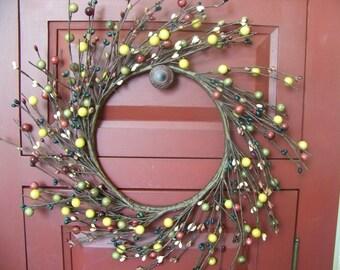 "Primitive Combination Berry Pip Berry Wreath 12"" Diameter"