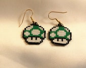 Pixel 1up Green Mushroom Mario Earrings Super Mario's World Handmade Bead
