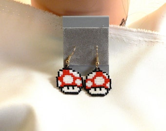 Pixel Red Mushroom Mario Earrings Super Mario's World Handmade Bead