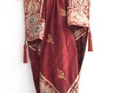 Vintage Gold Embroidered Tablecloth, Saree Border and Tassels, Gold Floral Burgundy Red Silk, Luxurious Square Tablecloth, Made in India