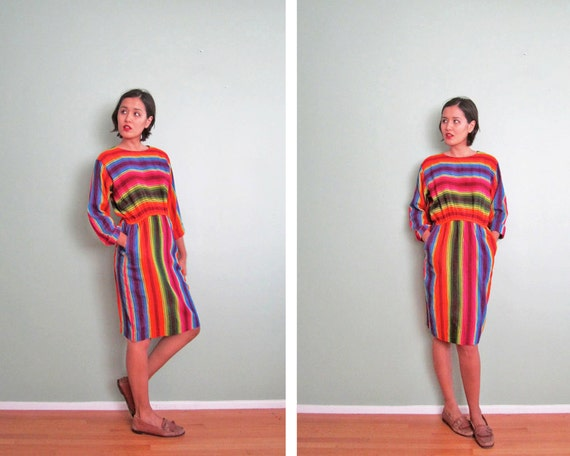 Mexican blanket dress / Mexican dress / multicolor / striped dress / long sleeve / S