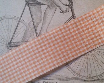 2 Yds Vintage Gingham Orange Trim Ribbon Wide Yardage NOS