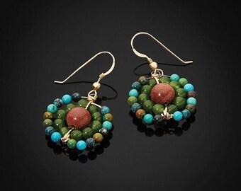Gold Beaded Elegant Holiday Dangle Earrings