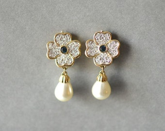 Vintage hanging pearl earrings dangle earrings fashion blue flower rhinestones jewelry costume gold