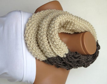 Wool Chunky Knit Cowl Neckwarmer, Chunky Cowl, oatmeal, Expresso, Infinity Scarf Knitted Chunky Scarf, Woman Accessory, Gift For Her, Cozy