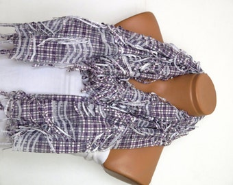 plaid Scarf,Fringed Womens Scarf, white, lilac, Shabby chic,Scarf,Cowl,Shawl,Wrap,Bandana,Headband,womans scarves.