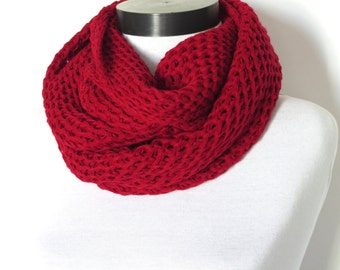 2015 trends scarf, red,Knit scarf, infinity scarf, chunky Cowl scarf, winter accessories, unisex, circle scarf, cowl scarf, chunky scarves,