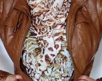 In Stock Leopard chiffon scarf scarf womens scarves leopard scarves oversized  scarf  scarves gifts
