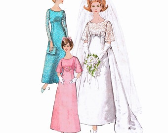 """1966 Misses' Empire Look Bridal Gown or Bridesmaid Dress, Detachable Train, Scallop Edge & Bell Sleeve Option, Simplicity 6825, Bust 34"""""""