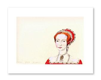 Queen Elizabeth- Fine Art Print- Tudor Art- Elizabethan Art- Fashion Illustration- British Decor- Gift for Anglophile