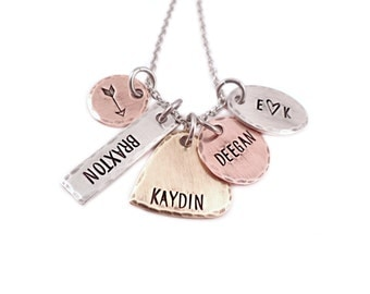 Personalized Mixed Metal Family Necklace - Mixed Shape Necklace - Hand Stamped Jewelry - Choose Your Own Charms - Rustic Necklace - 1374