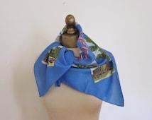 Windsor CANADA vintage SOUVENIR scarf  DETROIT, Canadian border scarf, travel scarf, rockabilly scarf, ladies headscarf, blue scarf