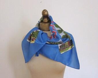 Windsor CANADA , vintage SOUVENIR scarf , DETROIT, Canadian border scarf, travel scarf, rockabilly scarf, ladies headscarf, blue scarf