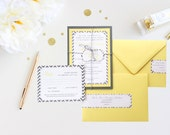Wedding Invitation Yellow Gray Chevron Simple Calligraphy Rustic Baker's Twine Elegant Wedding Invitation Country Chic Vintage Contemporary
