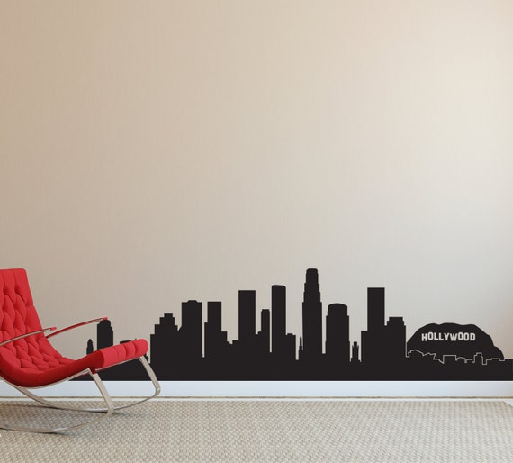 Los Angeles LA Hollywood City Skyline Silhouette Wall Decal - Custom vinyl stickers los angeles