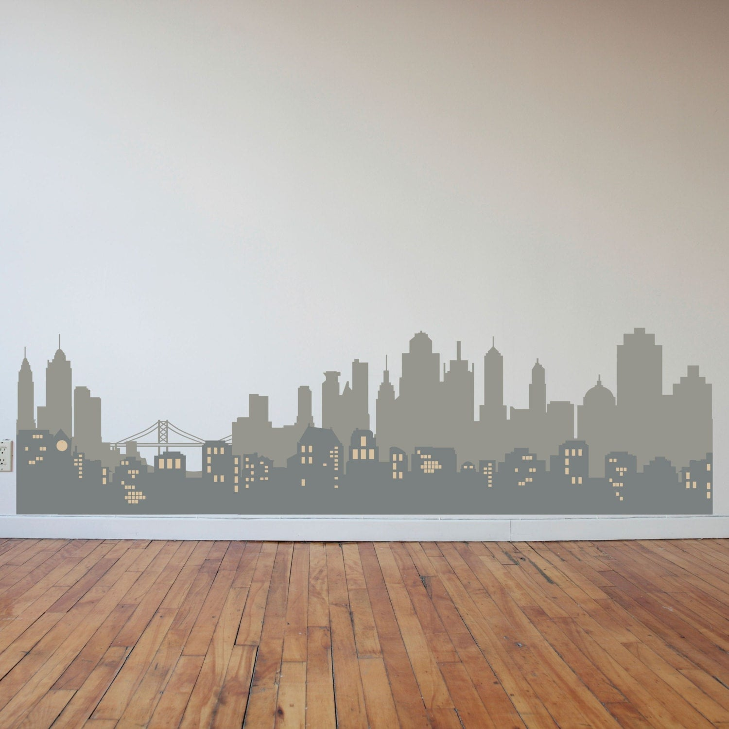 Layered city skyline silhouette with city lights wall decal for City lights mural