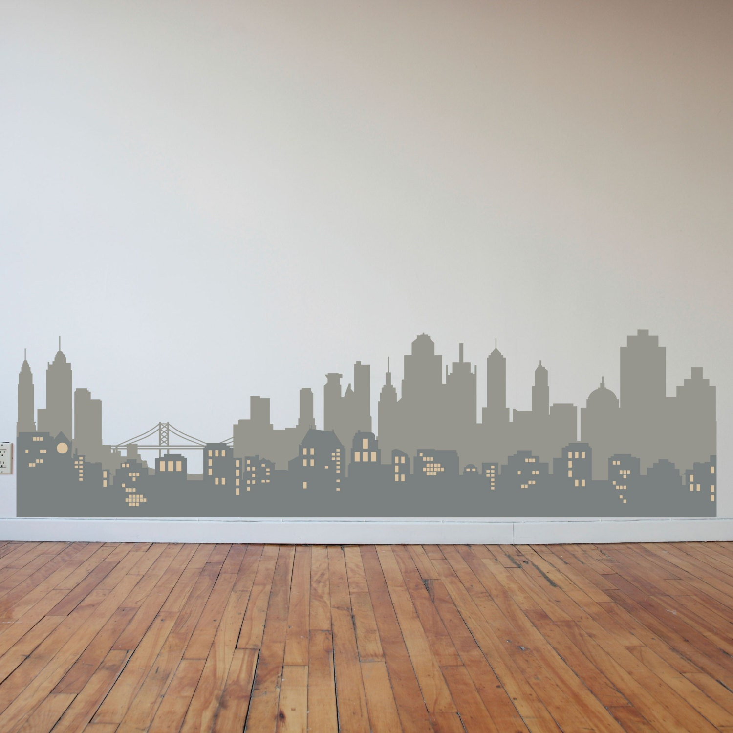 Layered city skyline silhouette with city lights wall decal for Cityscape wall mural