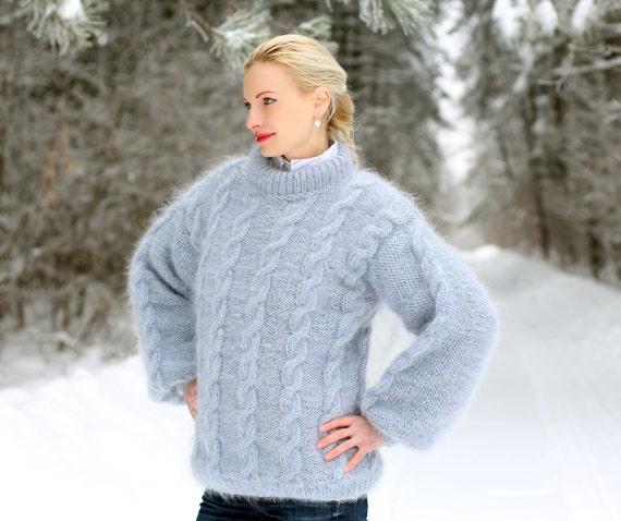 Unisex hand knit mohair sweater in gray with beautiful cables by SuperTanya - S / M size