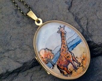 giraffe locket, giraffe jewelry, hand painted