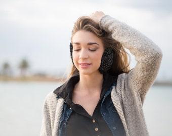 Christmas Gift Woman Earmuff –Black and Silver Wool Crochet Earwarmer