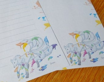 Letter paper - colored wolf tails - rainbow - writing paper - stationery