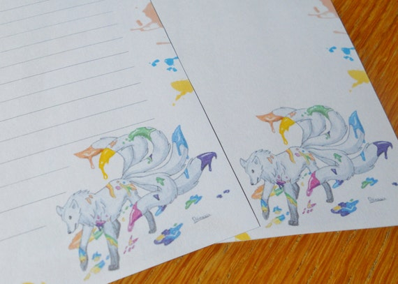 Letter paper colored wolf tails rainbow writing paper – Colored Writing Paper
