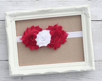 Baby Headband – Baby Flower Headband - Shabby White Red Baby Girl Headband - Newborn Headband - Toddler Headband - Photo Prop - Hair Bow