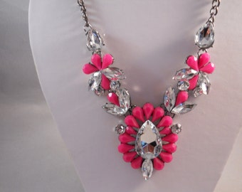 Bib Necklace with a Pink and Clear Crystal Pendant  and 2 Side Pendants.
