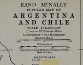 Argentina & Chile Vtg Map, 1928