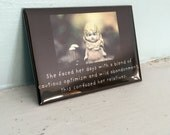 """Refrigerator Magnet Claudia Porcelain Bisque Doll """"Faced Her Days With a Blend of Cautious Optimism"""" Typographic Art"""