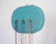 Boho-Chic Jewelry Hook - Bohemian Necklace Holder - Boho Glam - Wooden Jewelry Organizer - Decorative Key Hook - Turquoise Teal Boho Decor