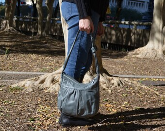 Gray Purse, Handmade Purse, Gray Leather Handbag, Vintage Shoulder Bag, Women's Pocketbook, Ladies' Purse, Mexican Vintage Handbag, BOHO