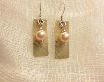 6 mm Bead on Texture #2 Dangle Earrings - Sterling Silver