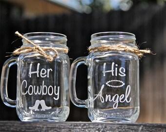 Her Cowboy & His Angel, Set of 2 Mason Jar Mugs