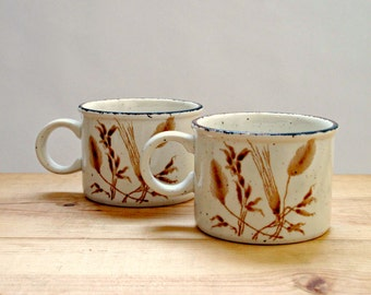 Pair of Vintage Patterned Pottery Mugs, Teacups